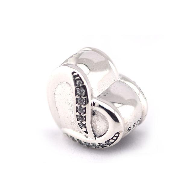 925 серебряные ювелирные изделия бусины Fit пандора браслет валентина в форме сердца бусины лента любви шарм DIY мода ювелирных изделий