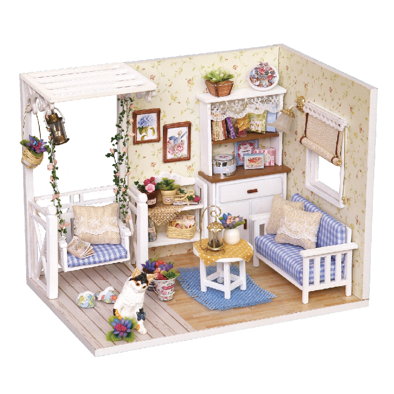 Kitten Diary Puzzle Small House Model Children'S Toys Game Play Boys Girls`s gift DIY Romantic gift 3D Jigsaw Toy Gifts For Kids(China (Mainland))