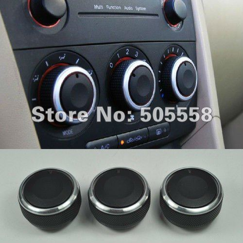 Free Shipping 3pcs/set Aluminum Alloy Air Condition Knob /Control/Switch For Mazda 3 2004-2009<br><br>Aliexpress