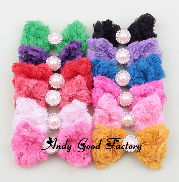3.2inch Mesh Rose Crystal Pearl Rosette Flower for Kids Headband Baby Headwear DIY Girls Hairband Accessoriers 50 pcs lot FL021(China (Mainland))