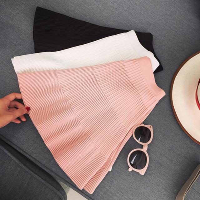 2016 осень высокая талия плиссированные юбки юбки женские зимние полосатые шерстяные вязаные полосатый сексуальная короткая юбка черный/белый/розовый