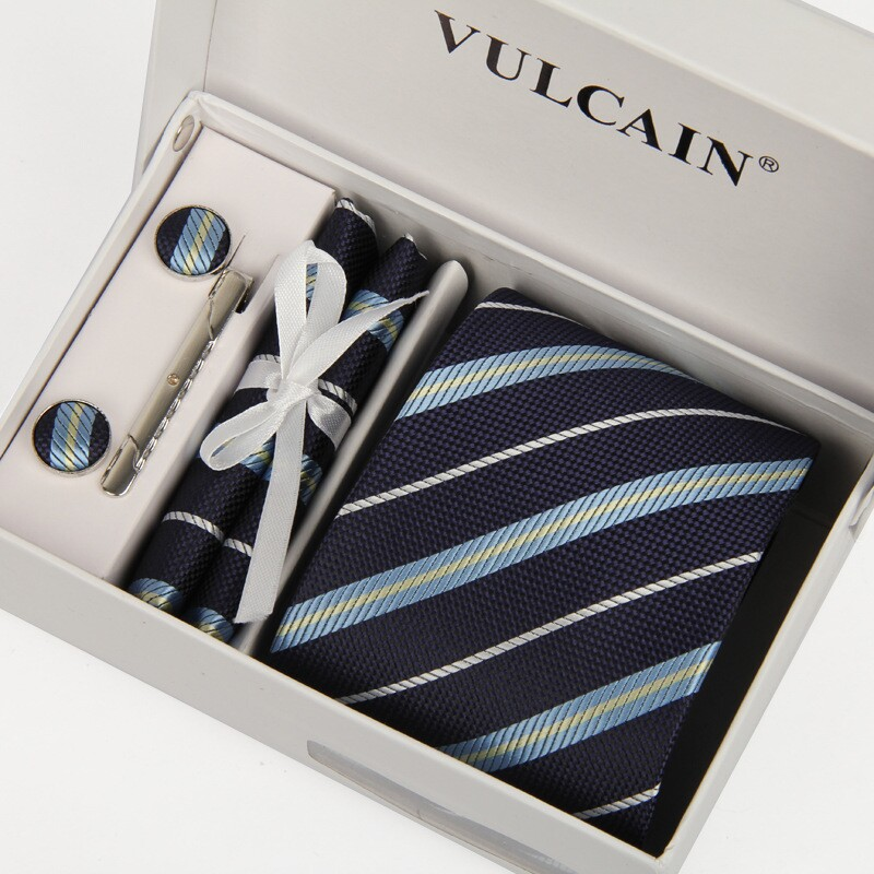 navy blue tie striped men neckties&cufflinks handkerchief clip box gift 5 sets gentlemen - 2015 store