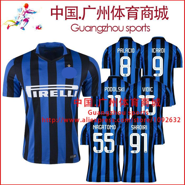 New Season Serie A INTER soccer jersey thai quality 15 16 KOVACIC HERNANES VIDIC SHAQIRI MILAN ICARDI GUARIN fotball jersey(China (Mainland))