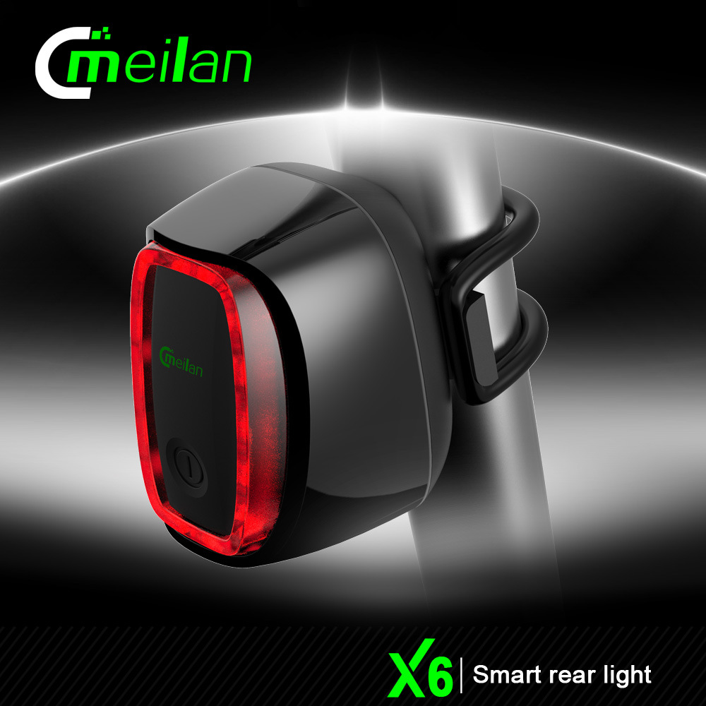 Meilan X6 Smart Bicycle Rear Light Taillight Bike Tail LED Shock Sensing Daylight Sensing Switch 7 Flash Model USB Rechargeable(China (Mainland))