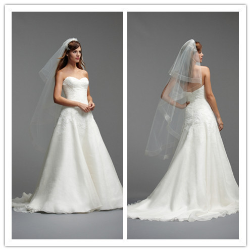 Free Shipping -new Designer Sweetheart A Line Ivory Organza Bridal Ball Gowns Lace Top Sweep Train Wedding Gowns 2015 New Arriva(China (Mainland))