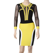 Factory Outlet Fashion Sexy High Quality Black and Yellow Mesh Sleeve Bandage Dress HL New Arrival Party Evening Sexy Dresses