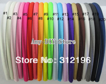 Free Shipping!40pcs/lot 7 mm Colored Satin Covered Resin Hairbands,Fashion Hair Band,Baby Headband,Hair Accessories