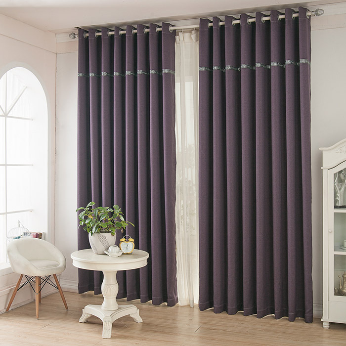 Pure purple linen curtains upscale atmosphere bedroom modern curtain minimalist living room full blackout curtains(China (Mainland))