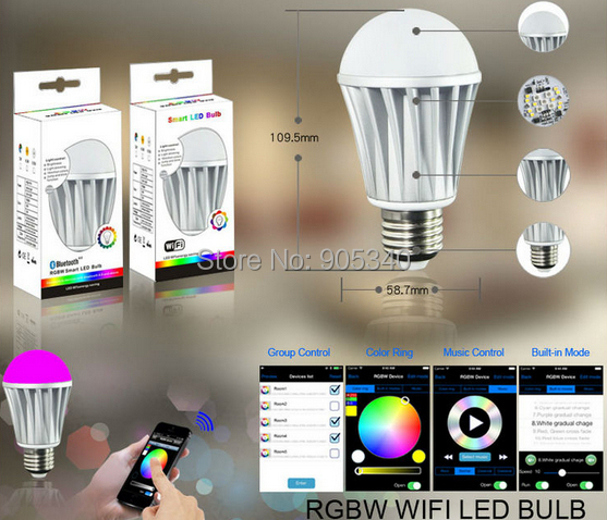 WIFI led bulb 7.5W RGB+White dimmablelamp smart home for IOS&Android iPhone Ipad control led magic bulb smart lamp(China (Mainland))