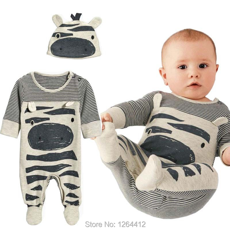 2016 Autumn New Fashion s baby boy clothes set cows cute gray striped baby rompers+hat newborn baby clothing set(China (Mainland))