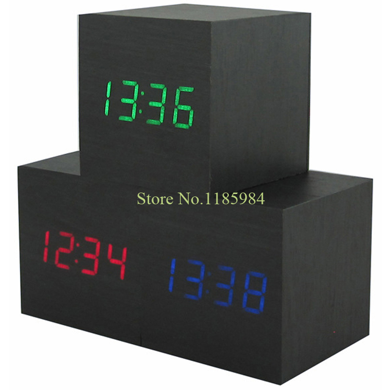 Cool LED Digital Clock Square Temperature Alarm Clock Voice activated Power Luminova Display Home Decor Table Bamboo Clocks 11C(China (Mainland))