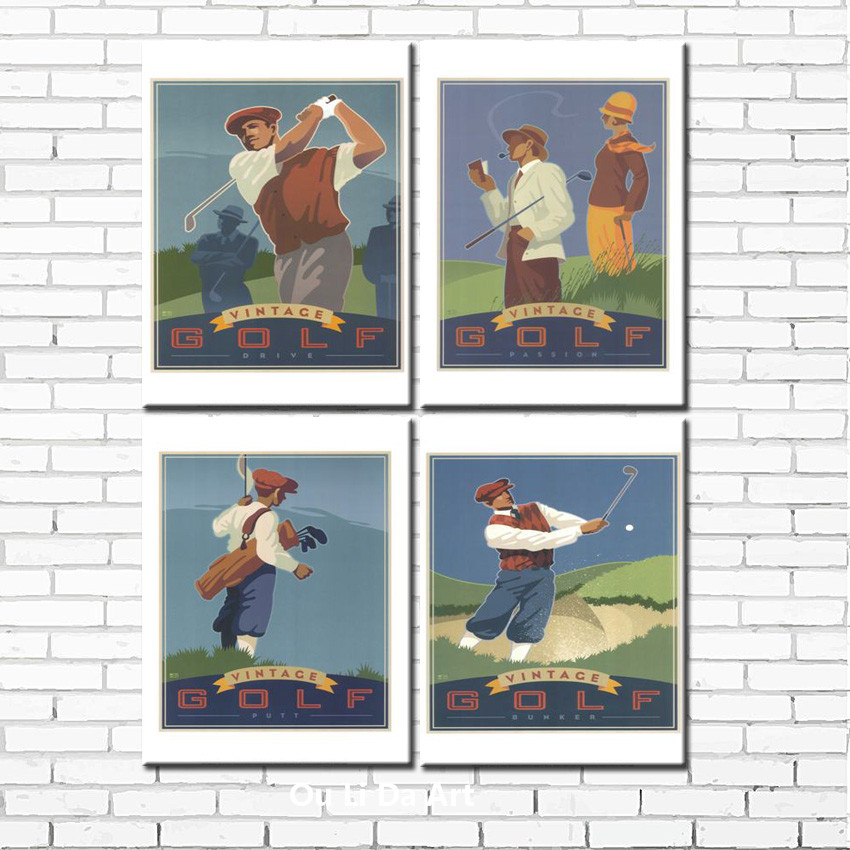 free shipping modern figure painting golf Space canvas prints oil painting on canvas golf course wall art decoration picture(China (Mainland))