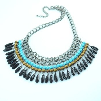 Vintage jewelry women handmade retro bohemian style drop beads charms chunky tie choker charms necklace for ladies NL-970