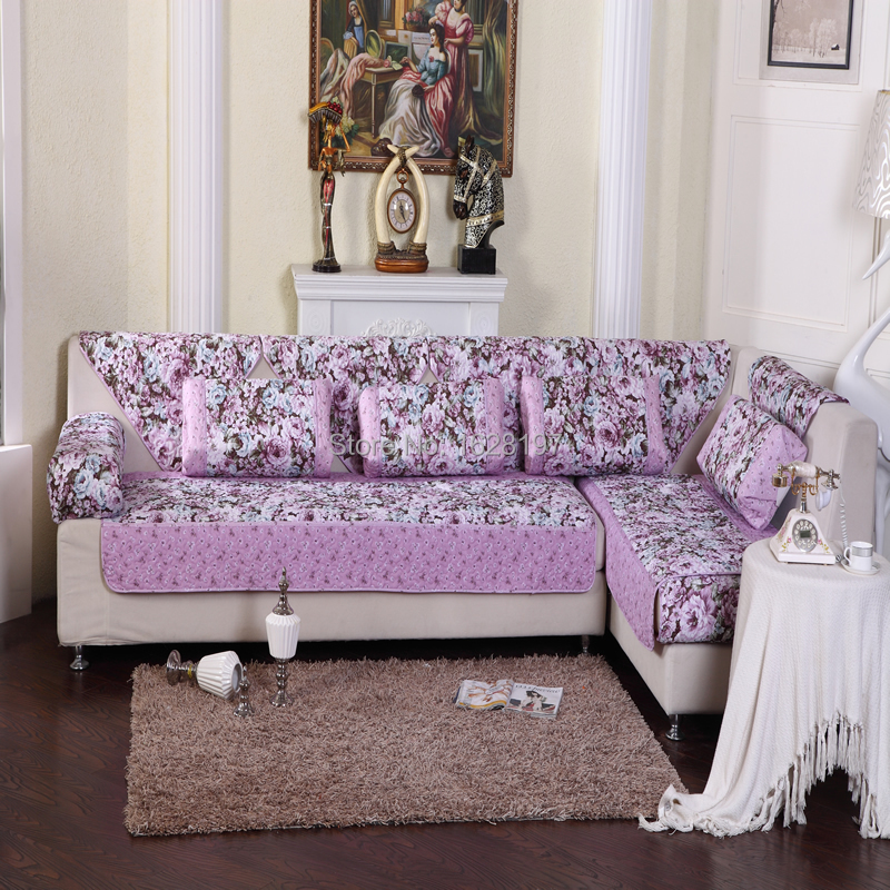 Purple Lavender Flower Sofa Cover Colorful Soft Sectional Couch Armrest Covers Sectional Sofas