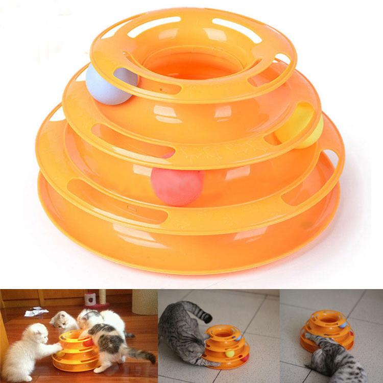 DIY Cat Toy Supplies 2015 Newest High Quality Brand Fashion Designer Three Layer Pp Plastic Pet Toys(China (Mainland))