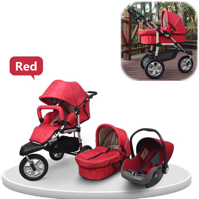 2015 New Arrival Baby Stroller 3 in 1 with Car Seat,Carry Cot Full Baby Stroller Accessories:Mosquito Net,Rain Cover Wholesale