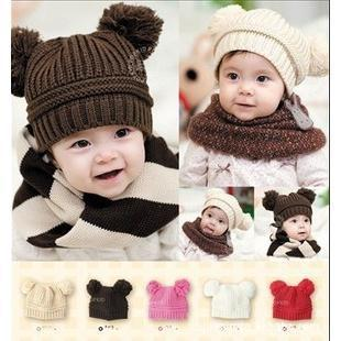 Wholesale Children's boy/girl beanies hats Fashion Baby's Winter Warm Knitted caps double ball solid color hat free shipping