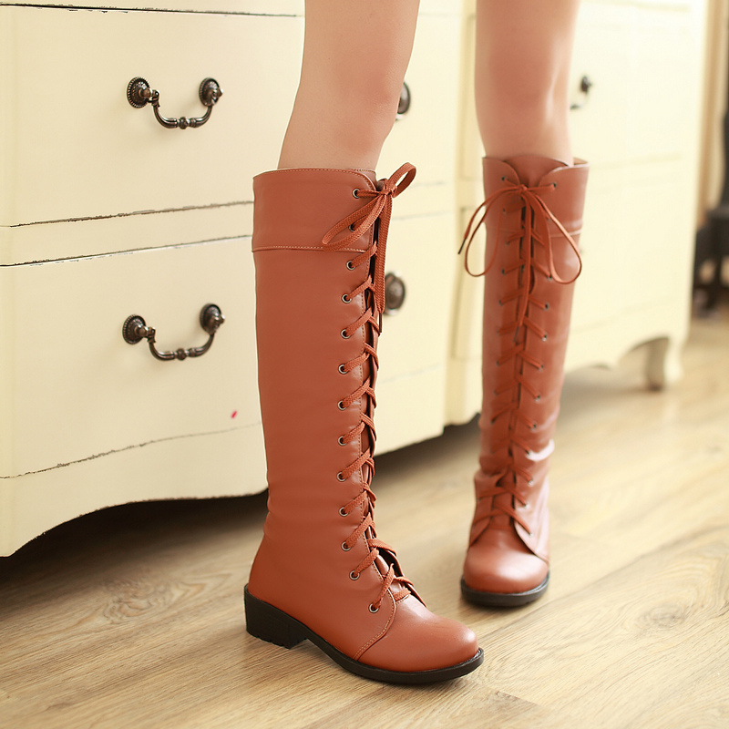 Autumn Winter women fashion boots high quality lace up knee high boots flat platform brown martin boots ladies big sizes(China (Mainland))
