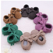 new Genuine Cow Leather suede Baby Moccasins shoes bow Soft Moccs Baby Shoes Newborn firstwalker Anti-slip Infant Shoes Footwear(China (Mainland))