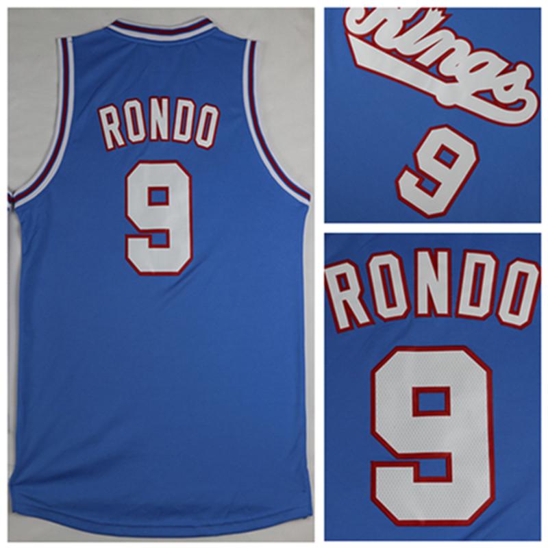 2016 luz azul #9 Rajon Rondo jersey, nuevo Material Rev 30 baloncesto jersey, mejor calidad del bordado Logos tamario S-XXL(China (Mainland))