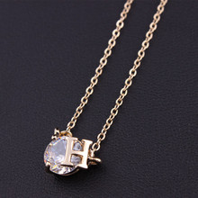 Wholesale New Jewelry 18K Gold Plated Round 8mm Cubic Zircon CZ H Brand Pendant High Quality Copper Chain Necklace N771(China (Mainland))