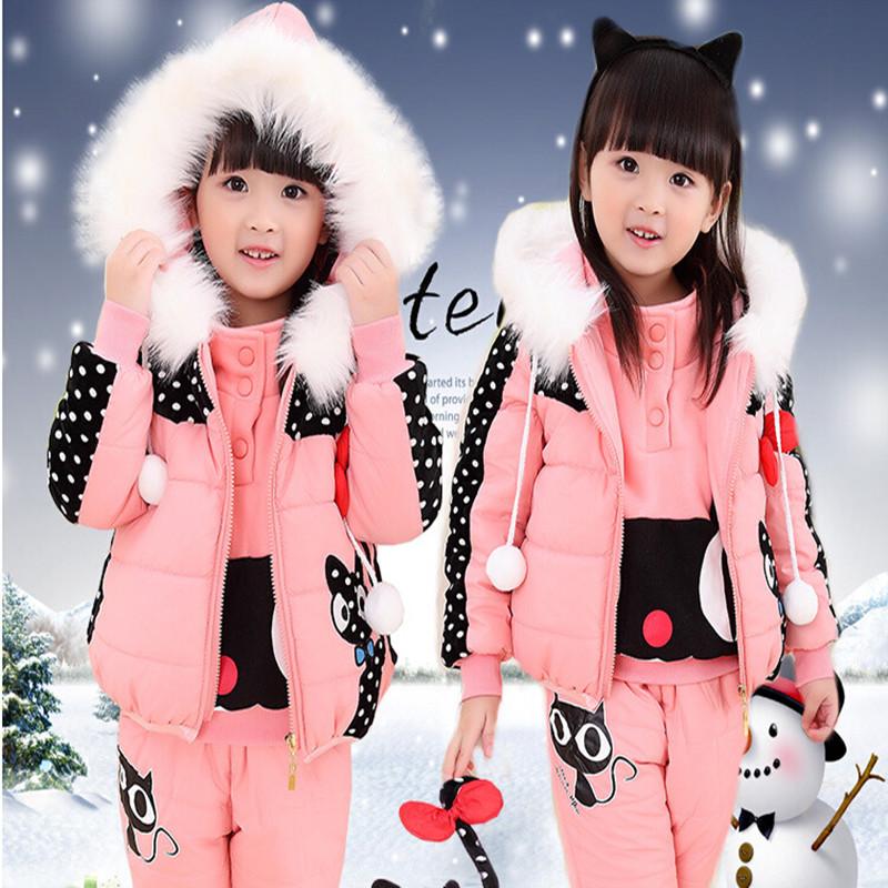 2015 New fashion children boy girl winter clothes suit kids Sports warm Plus thick velvet three-piece brand child suits(China (Mainland))