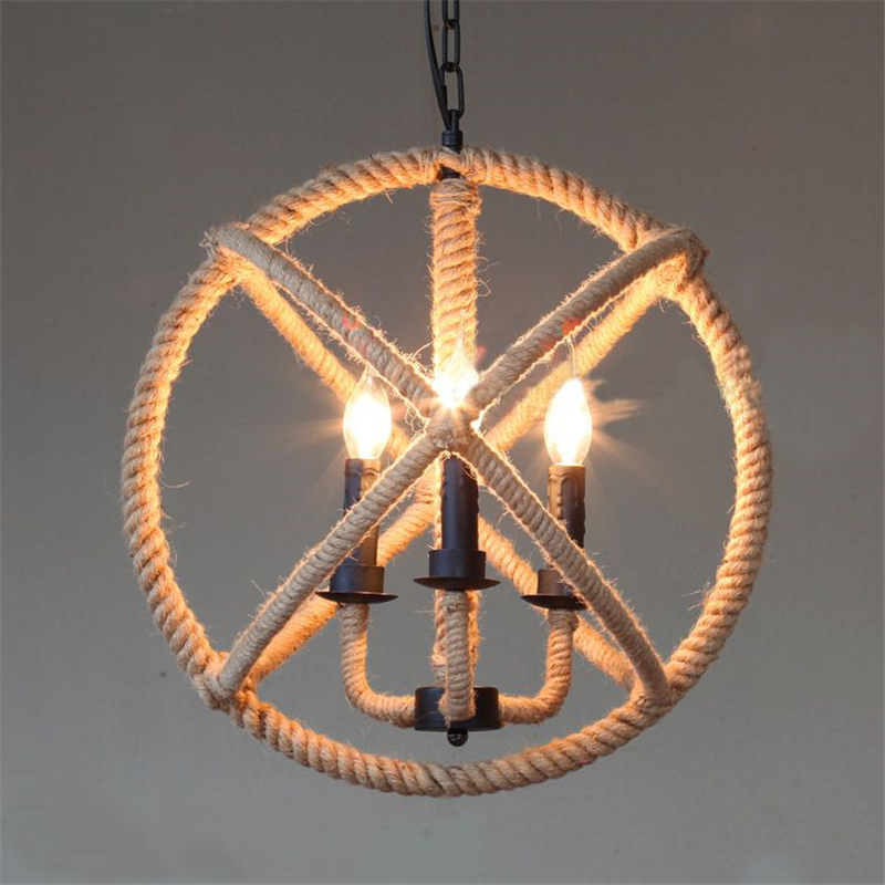Hemp Rope Lamp Iron Globe Ball Vintage Pendant Light American Country Industrial Rustic Light Fixtures for Restaurants PLL-61(China (Mainland))