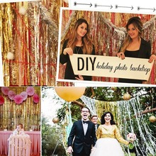 Buy 92*245CM shimmering Tinsel Curtain Foil Room Shiny Pub party Stage wedding decoration backdrop Background for $4.14 in AliExpress store