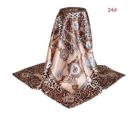 2015 Big Size 90x90cm Silk Square Scarf Women Fashion Brand High Quality Imitated Silk Satin Scarves Shawl Hijab NO.24(China (Mainland))