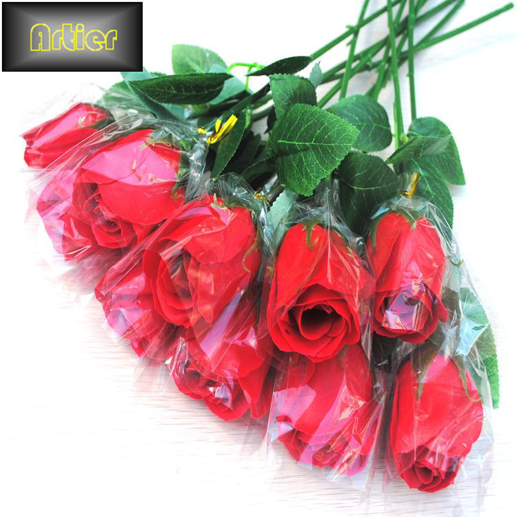 Simulation rose valentine day gift soap flower single red rose living room decoration AX1108(China (Mainland))