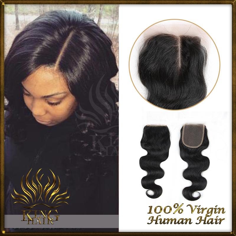 Peruvian Virgin Hair Invisible Base Lace Closure 4*4 Bleached Knots Free And Middle Part Closure Human Hair Closure(China (Mainland))