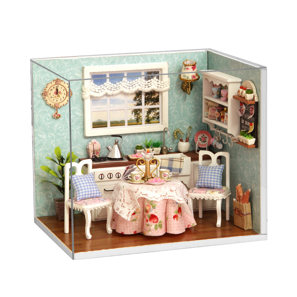 Free Shipping DIY Wooden Dollhouse Furniture Handcraft Miniature Box Kit with Cover LED Light - Happy Kitchen Low Price Selling(China (Mainland))