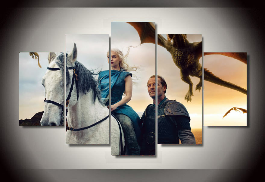 Buy hd printed game of thrones 5 pieces for Decoration murale game of thrones