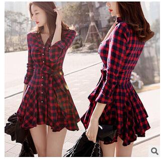 2015 spring autumn womens red plaid dress female beautiful long-sleeved sexy dress(China (Mainland))