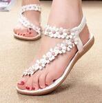 Bohemia sandals for women summer shoes women flip beaded flower flip-flop flat sandals 35-39 White Khaki Flower Cheap Shoes#HR19(China (Mainland))