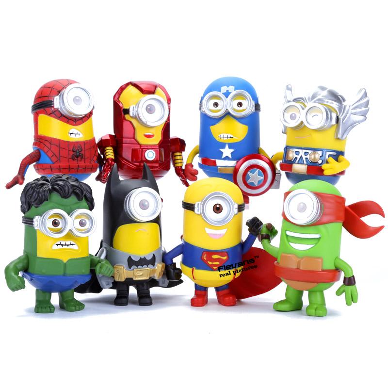 8pcs/set 3D Eye Minion Cos Avengers Superheroes Iron man Spriderman Hulk Thor PVC Action Figures Kids Toys(China (Mainland))