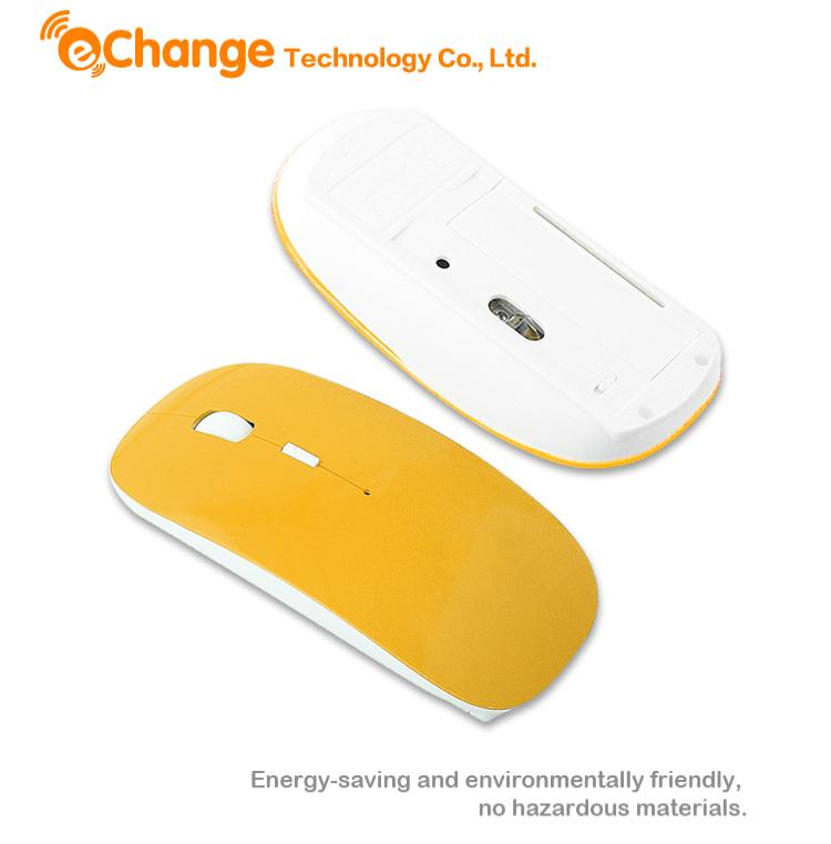 Ultra Thin PC Laptop Wireless Optical 2.4GHZ Cordless Mouse With Receiver Yellow EA0021 blusa gaming mouse mouse para jogos(China (Mainland))