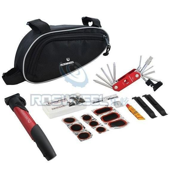 red Multi-function Cycling Bicycle tools Bike repair kits with Pouch Pump