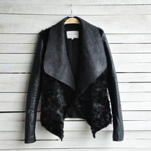 High Quality !! Slim leather clothing female short design fur coat for women one piece short jacket fur leather jacket