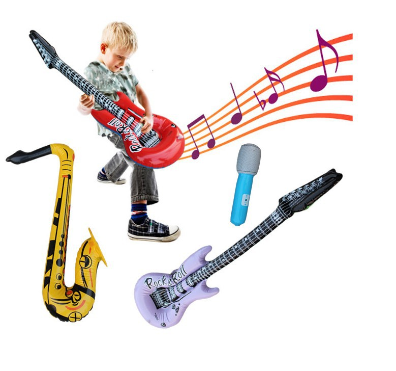 2016 Free Shipping Pvc Inflatable Guitar Saxe Microphone Musical Instrument Set Child Music Toy For Children Party Decoration<br><br>Aliexpress