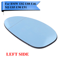 Left Heat Blue Tinted Wing Door Mirror Glass For BMW E82 E88 128i 135i E46 M3