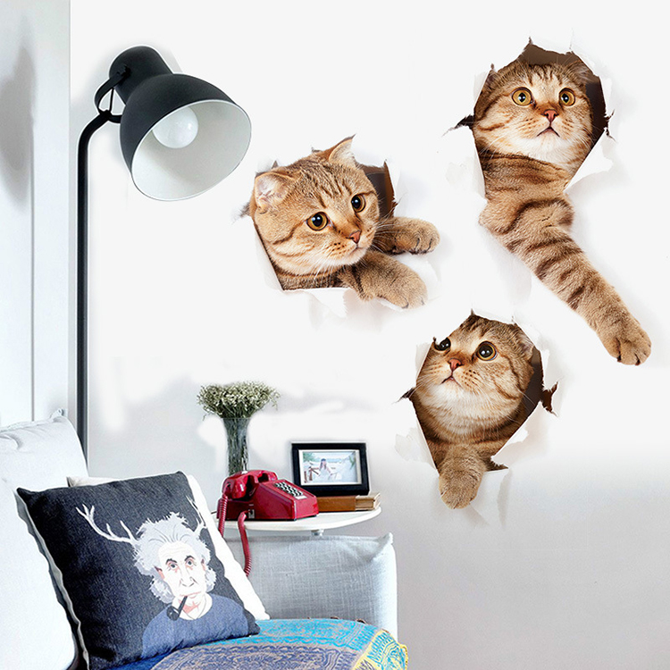 3D Cat Wall Sticker Hole View Vivid Living Room Home Decor Decal Cat Wall Sticker Cute Cat