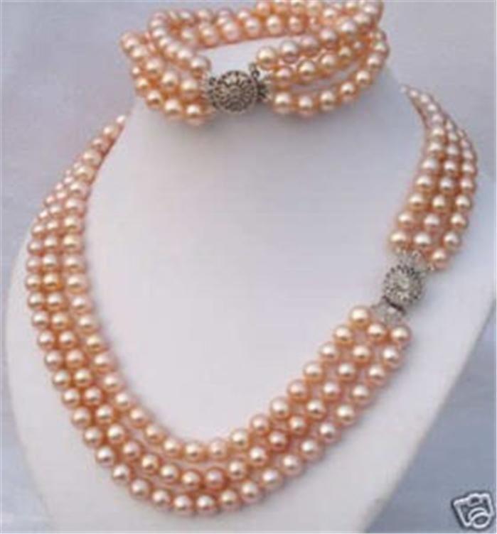 Free shipping! 2014 beautiful fashion 2015 new fashion 3 Rows 7-8mm Pink Shell Pearl Necklace Bracelet set JT6792(China (Mainland))