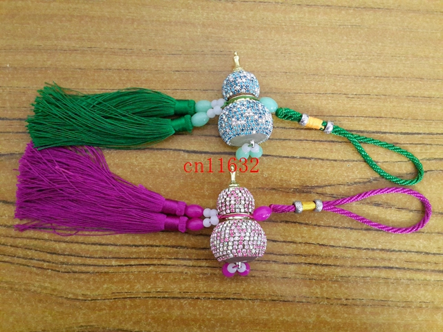 50pcs/lot Free Shipping blinking Gourd Style Essential Oil Tassel perfume bottle Empty Glass car pendant hanging Ornament(China (Mainland))