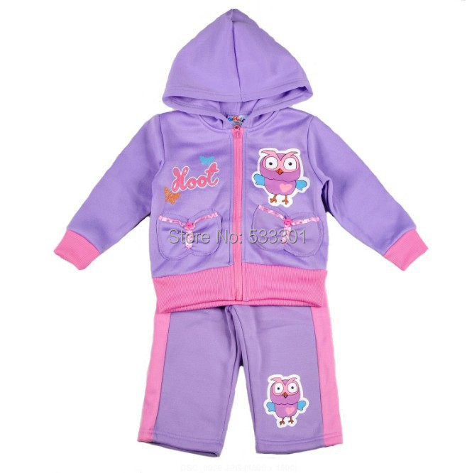 2015 New Fashion Baby Girls Giggle and Hoot Kids Winter Clothing Tracksuits + Pants Clothes sets 5set/lot(China (Mainland))