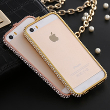 Bling Frame Case For Iphone 5 5S SE Luxury Crystal Rhinestone Diamond Bling Aluminum Cases Cover Metal Frame For iPhone5 Fundas(China (Mainland))
