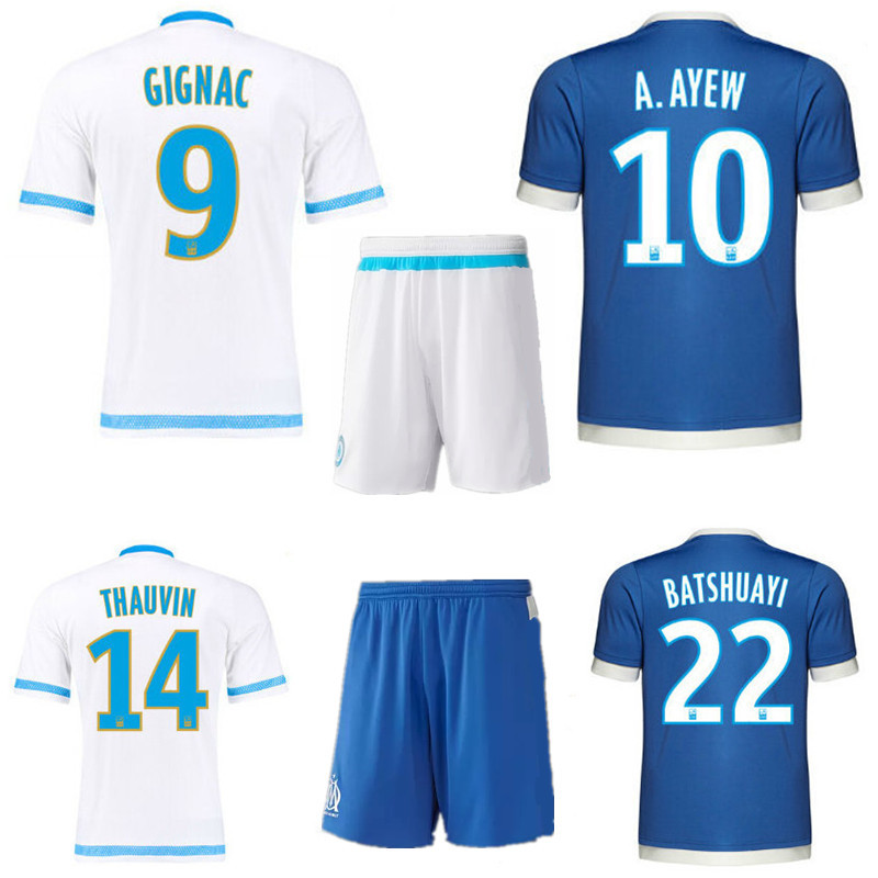 Ligue 1 kit 15 16 Olympique de Marseille soccer jersey+short PAYET A.AYEW home white shirt GIGNAC BATSHUAYI 3rd away blue set(China (Mainland))