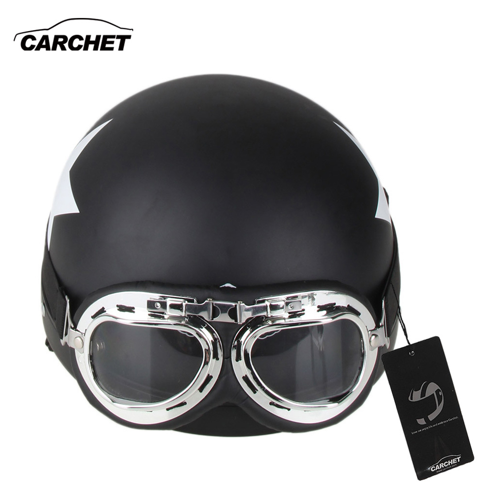 CARCHET Motorcycle Helmet with Goggles Detachable Visor Star Pattern Black Safety Motocross Helmets cascos para moto 55-60cm(China (Mainland))
