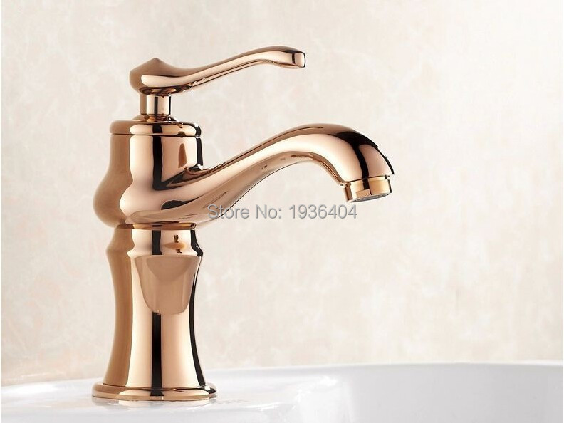 Fashion Luxury torneira banheiro Brasshot and cold Ceramic Vintage Wash Basin Copper Rose Gold crane RS307