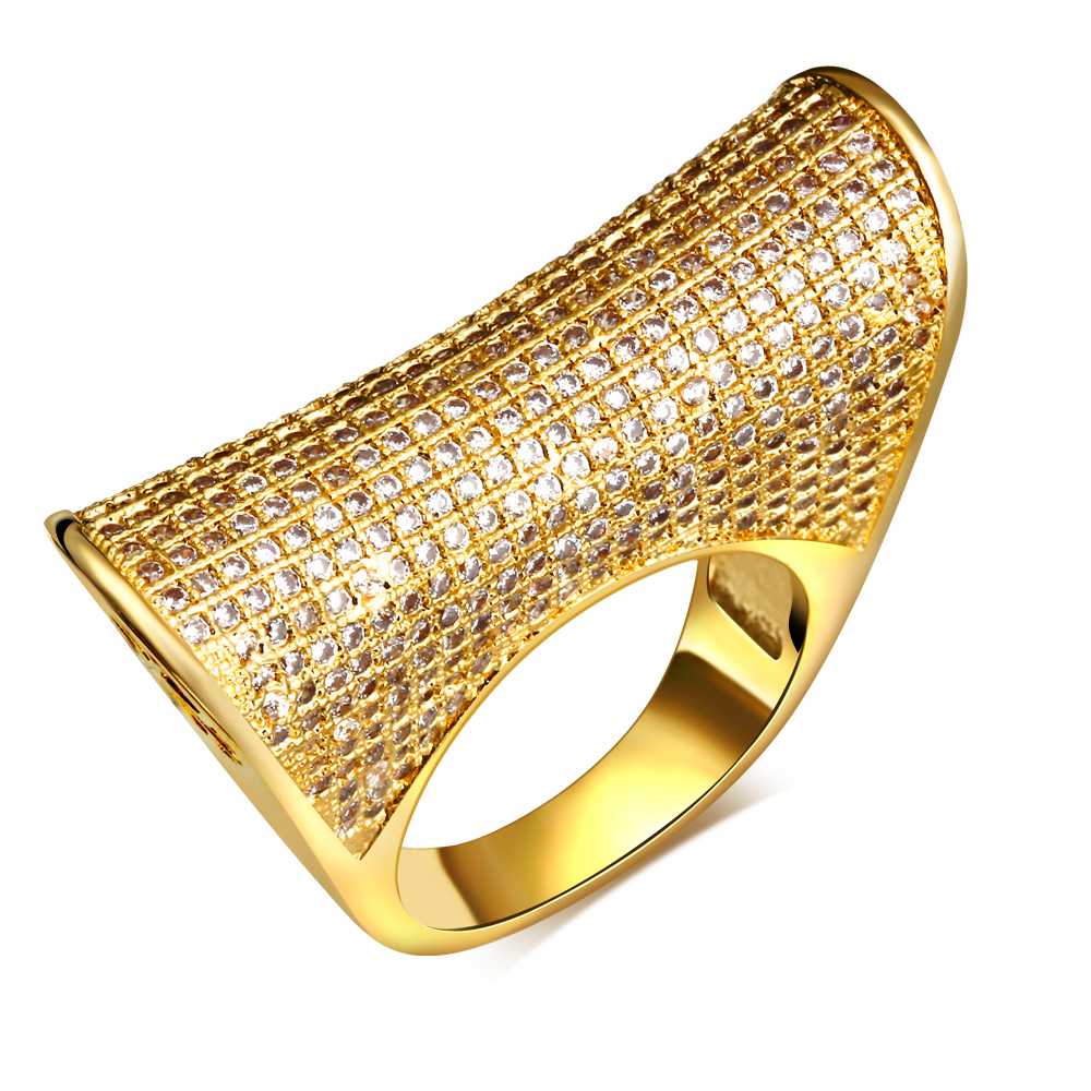 Nice Rings for party gold plated with cubic zircon crystal finger Ring high quality fashion jewelry Free shipment full size(China (Mainland))